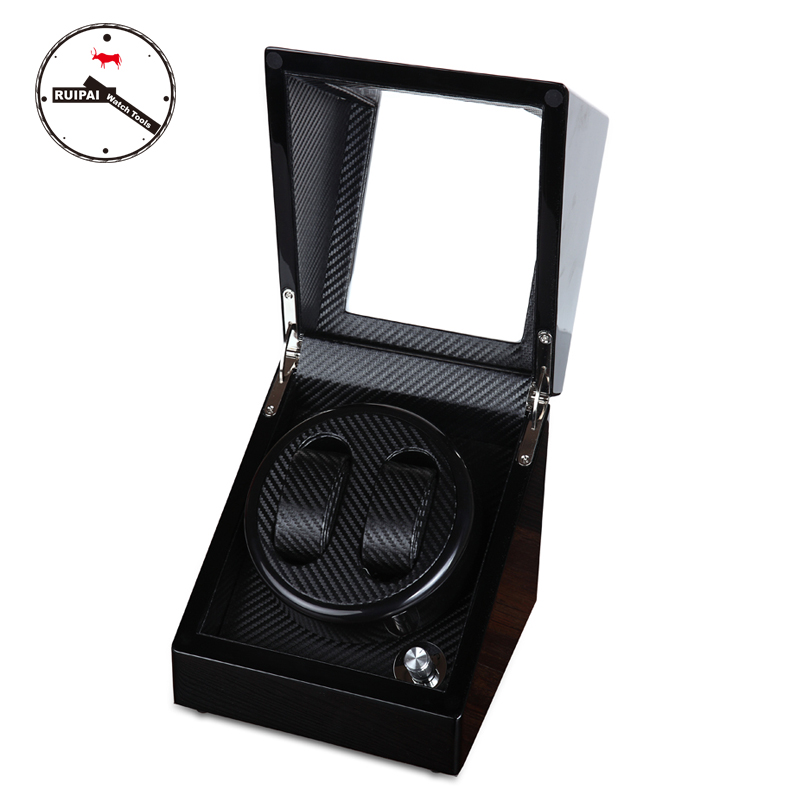 High-End Black Wooden Carbon Fiber Watch Winder Ultra Quite Daul 5 modes Watch Winder ultra luxury 2 3 5 modes german motor watch winder white color wooden black pu leater inside automatic watch winder