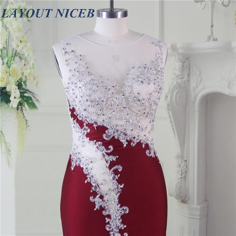 Elegant Robe de Soiree Illusion Halsband Fram Split Sexig Bourgogne - Särskilda tillfällen klänningar - Foto 5