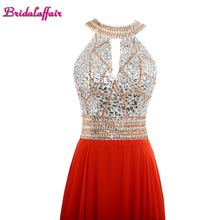 KapokBanyan Real Photo Red Chiifon Halter Neck Appliques Prom Dresses 2017 Simple Backless Long Crystal Sashes Party Gowns