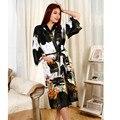 Moda preto das Mulheres Chinesas de Cetim de Poliéster Pintado Kaftan Peri Quimono Veste de Banho Vestido De Roupão De Banho Com Belt Plus Size M-XXXL