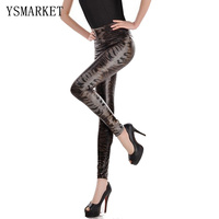 Yeni Rahat Pantolon Sıcak Seksi Kız PU deri Serpantin Baskı Yüksek Bel Elastik Ince Fitness Egzersiz Kadın Tayt Pantolon H5011