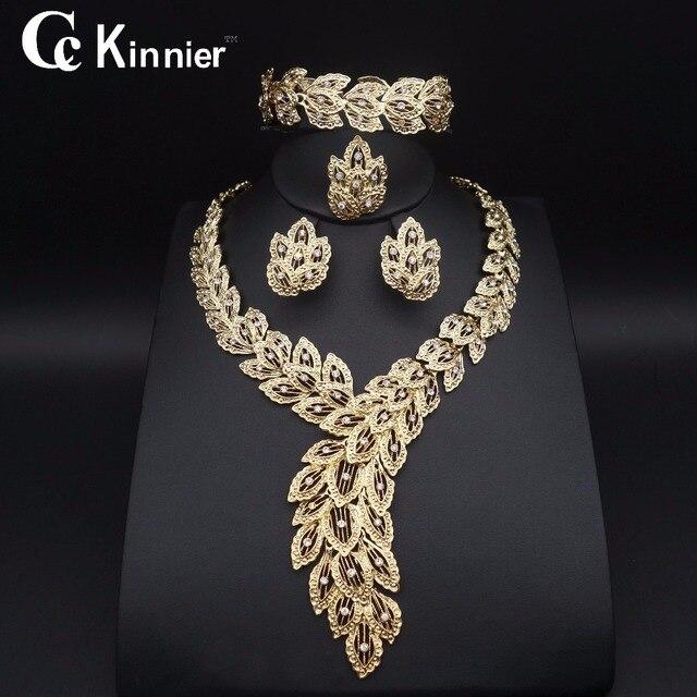 Fashion jewelry set African Nigeria Dubai gold-color African bead jewelry weddin