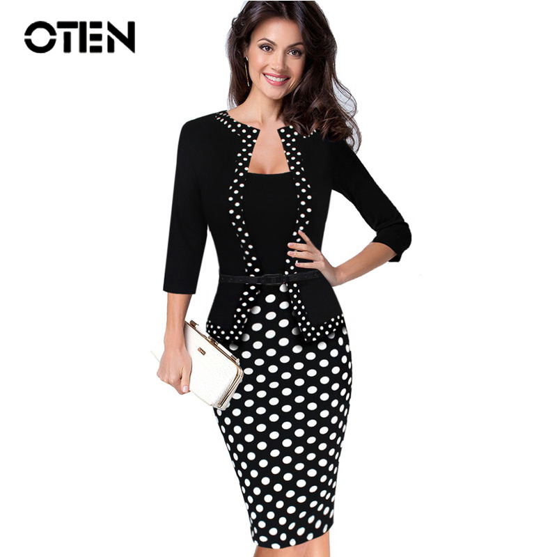 OTEN Womens Retro Faux Jacket One-Piece Polka Dot Contrast Patchwork Work Wear Office Business Sheath Dress Tunic Robe Crayon