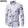 Impresso Manga Comprida Camisas Dos Homens Casuais Hip Hop Rocha Boate Masculino Blusa de Algodão de Alta Qualidade Camisa Masculina Plus Size MXB0355