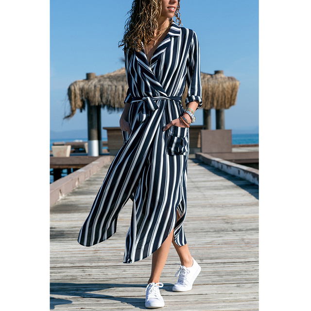 Women Casual Sashes Striped...
