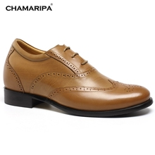 CHAMARIPA Increase Height 7cm/2.76 inch Brown Elevator Shoes Men Brown Brogues Height Increasing Shoes For Men