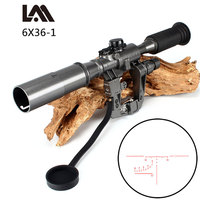 Dragunov SVD POS 6X36 1 Red Illuminated Hunting Riflescope Tactical Optics Sights for Sniper Shooting AK Rifle Free Shipping