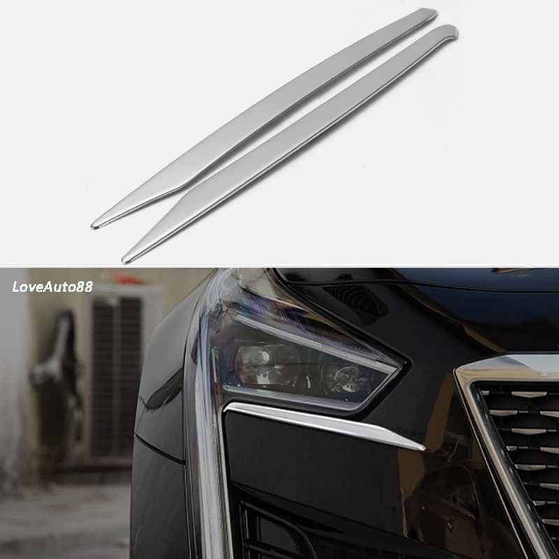 2pcs ABS Chorme Car Headlight Eyebrow Cover Trim Sticker Head Lamp Eyelid For Cadillac CT6 2019 Accessories