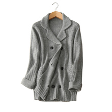 100% cashmere thick women cardigans sweater turn down collar 3 colors double breasted winter/autumn clothings lady outwear