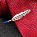 Fashion Men Alloy Necktie Tie Bar Clasp Clip Wedding Party Mens Skinny Blue Tie Bar Silver Feather Tie Clip Men Wedding Suit