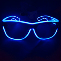 Fashion New 2016 EL Wire Glowing Glasses Shutter Shaped LED Glow Sun Glasses For Cosplay Costume