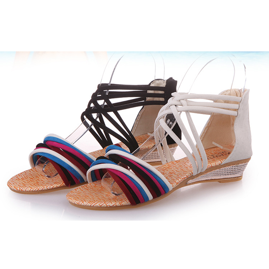 b0f1c0468e25 ... Rhinestone Elastic  womens summer shoes Sexy wedge Heel Sandals women  roman Sandals For Girls Black Color gladiator sandals ...