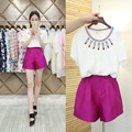 2015 summer new ladies ladies small fragrant cotton wide leg fashion leisure shorts two piece suit female