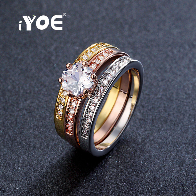 Iyoe Anniversary Gifts Fancy Cz Crystal Ring Set Fashion Brand