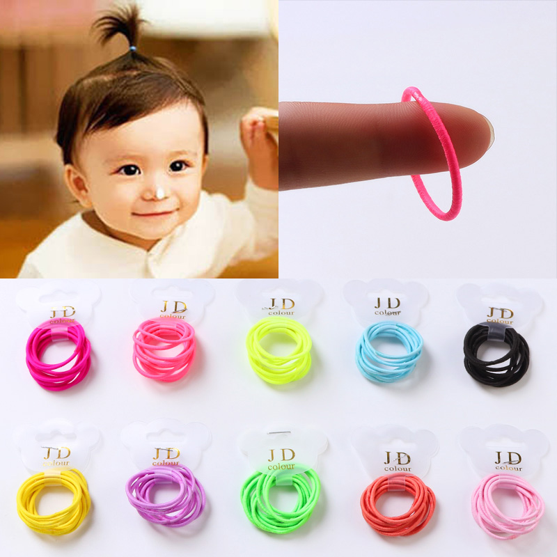 10PCS/Lot Baby Girls Colorful Mini Ring Elastic Hair Bands Tie Gum For Hair Ponytail Holder Rubber Bands Kids Hair Accessories