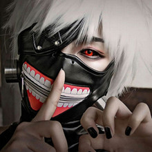 Cos Tokyo Ghoul Kaneki Ken Mask Adjustable Zipper PU Leather Party Masks Grimace Blinder Anime Cosplay все цены