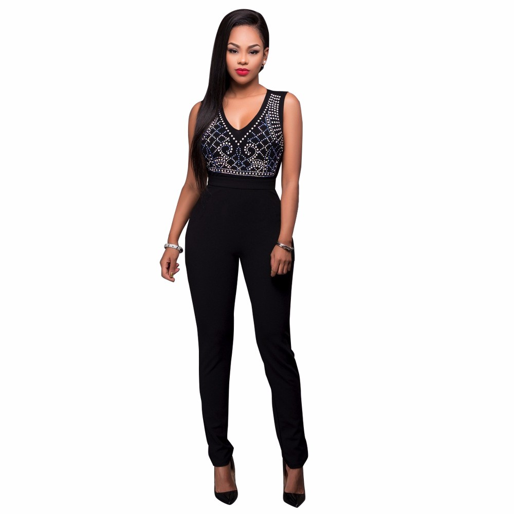 2017 New Summer Women Jumpsuit Bandage Black Bodysuit V-Neck Sleeveless Print Zipper Back Sexy Bodycon Jumpsuits And Rompers 8