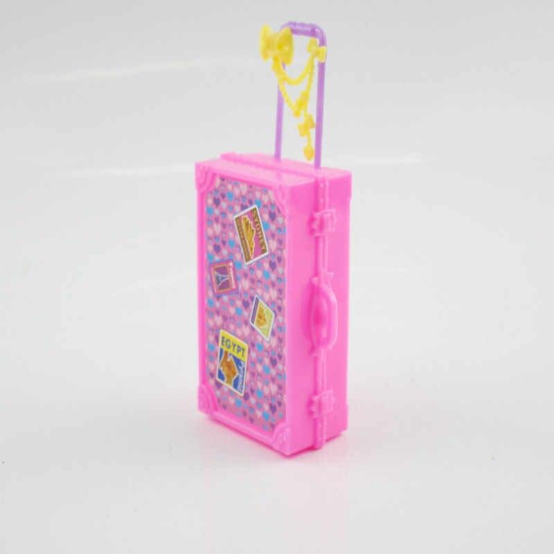 3D für Kinder Mädchen Nette Kunststoff Reise Koffer Gepäck Fall Stamm für Barbie Puppe Haus Spielzeug Puppe haus Möbel Spielzeug geschenk