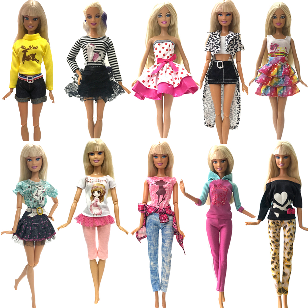 Nk 2019 Newest Doll Dress Fashion Casual Wear Handmade Clothes  Outfits For Barbie Doll Accessories  Best Diy Toys For Doll