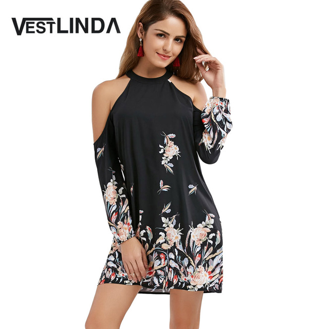 VESTLINDA Cold Shoulder Long Sleeve Floral Border Print Shift Dress 2017  Autumn Ladies Casual Elegant A Line Mini Short Dresses 7855e50da