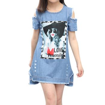 Fashion Baby Girl Pattern Straight Mini Dress Kids Children Girl Print Short Summer O-Neck Denim Dresses Clothes Clothing