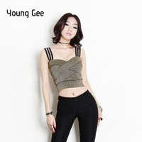 Young Gee 2019 Women Elastic Bandage Crop Top Spaghetti Strap Sexy Busty Stretch Tight Lady Camis Tank Tops cropped feminino