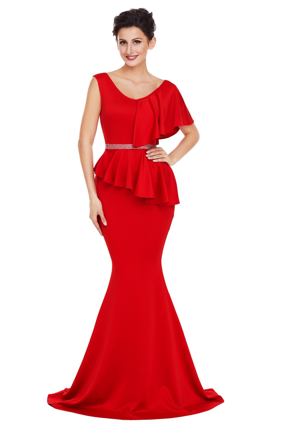 Royal Asymmetric Ruffle Peplum Mermaid Party Dress Elegant long sleeve evening gowns dresses women long sleeve evening gown Sale