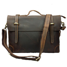 New Retro Crazy Horse Genuine Leather font b Men s b font Classic Messenger font b