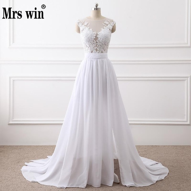 2018 New Simple Elegant Wedding Dress Beautiful Lace A Line Wedding Dresses  Vestidos De Noiva Robe 7c3e3b304