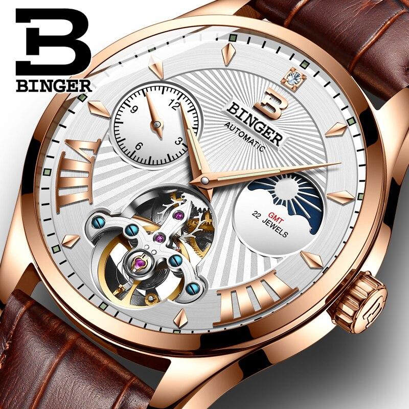 Montre homme Schweiz BINGER Luxus Männer Uhr Automatische Tourbillon Mechanische Uhr männer Mond Phase Saphir Leuchtende Uhren-in Mechanische Uhren aus Uhren bei  Gruppe 1