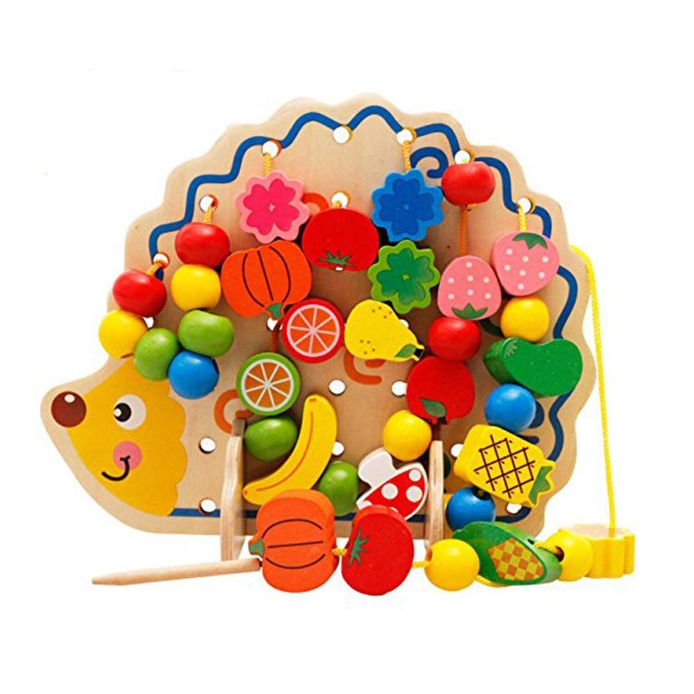 LCLL-MWZ Wooden Fruits And Vegetables Lacing & Stringing Beads Toys With Hedgehog Board For Above 3 Years Old Kids
