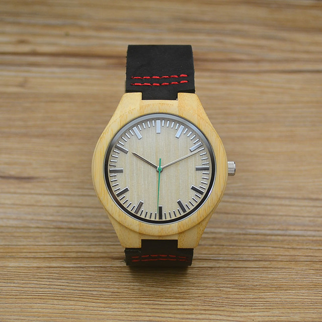 Fashion Men Real Leather Band Wood Watch Brown Bamboo Japan Quartz Black Wooden Wristwatches Women Luxury Luminous 2017 Hot Box