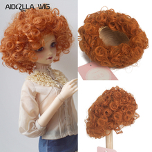 купить 1/3 1/4 BJD DD Doll Wigs High Temperature Wire Gold Orange Short Wave Hairs Doll Accessories BJD Doll Wigs дешево