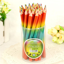 36PCS / barrel creative green wood color pencil graffiti thick four-color same color rainbow pen triangle drawing school student