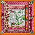 Супер Большой Саржевого Шелковый Шарф Женщин 100*100 Высокое Качество Подарок Шелковые Платки Евро Дизайн Национального Ветра Montain Печати квадратные Шарфы