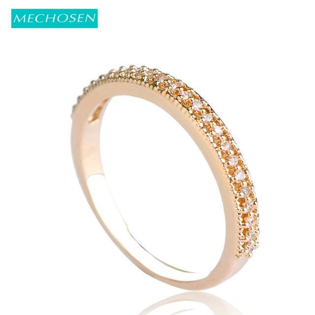 MECHOSEN Jewelry Copper Thin Rings Cubic Zirconia Prong Setting Crystal  Anillos Joyas De Oro Gold Color Aros For Women Casamento 8f834638223f