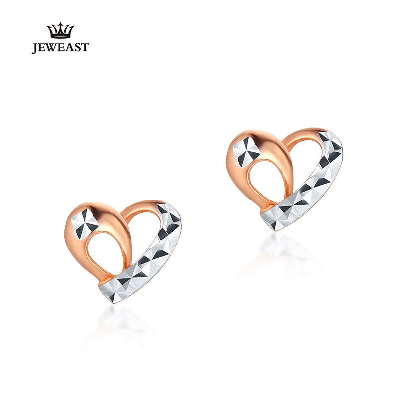 18K Pure Gold Earring Real AU 750 Solid Gold Earrings Double Color Heart Upscale Trendy Classic Party Jewelry Hot Sell New 2018 real 18k gold jewelry heart earring women miss girls gift party female ear wire drop earrings solid hot sale new good trendy