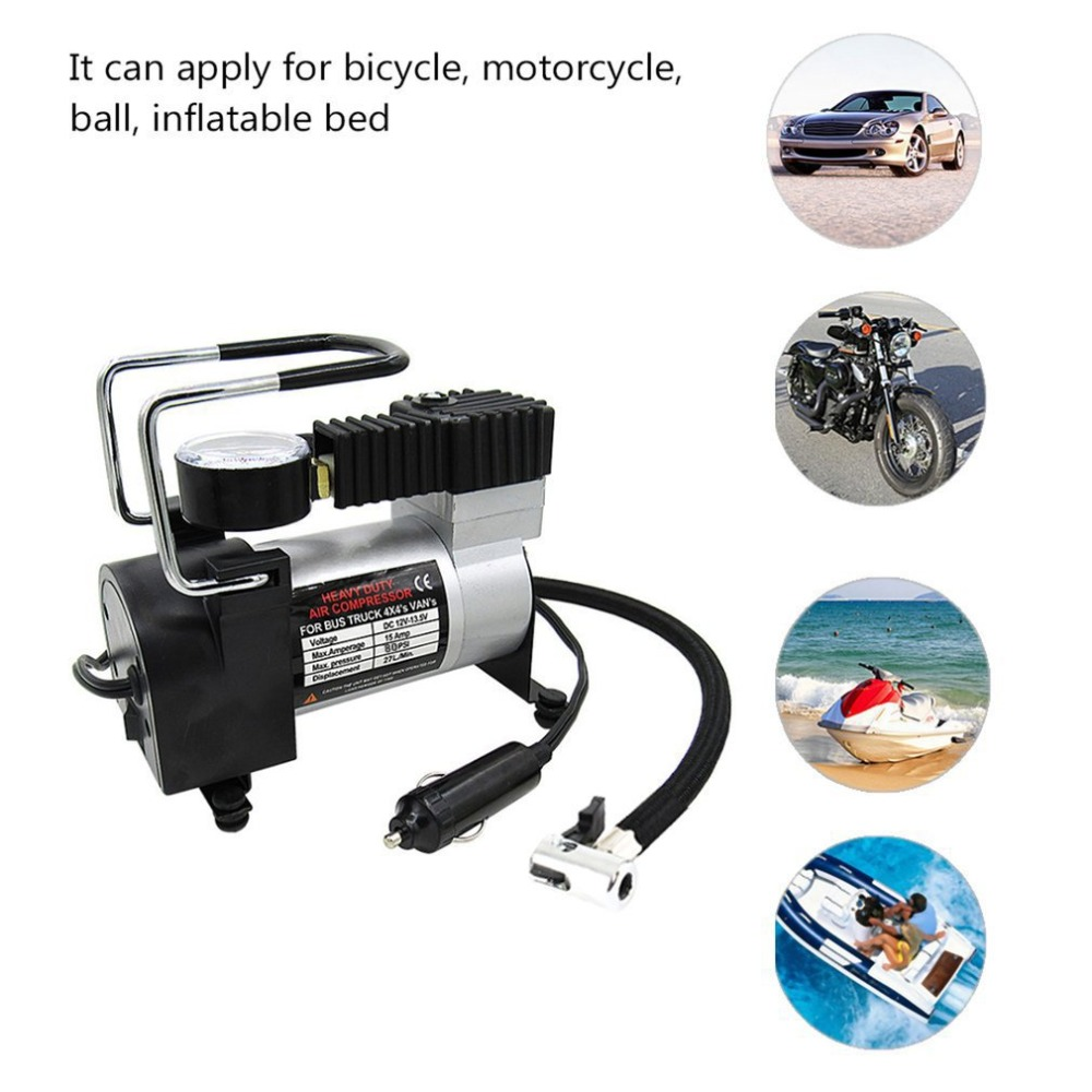 12V Car Motorcycle Bike Tyre Inflator Air Compressor Travel Portable Pump 100PSI