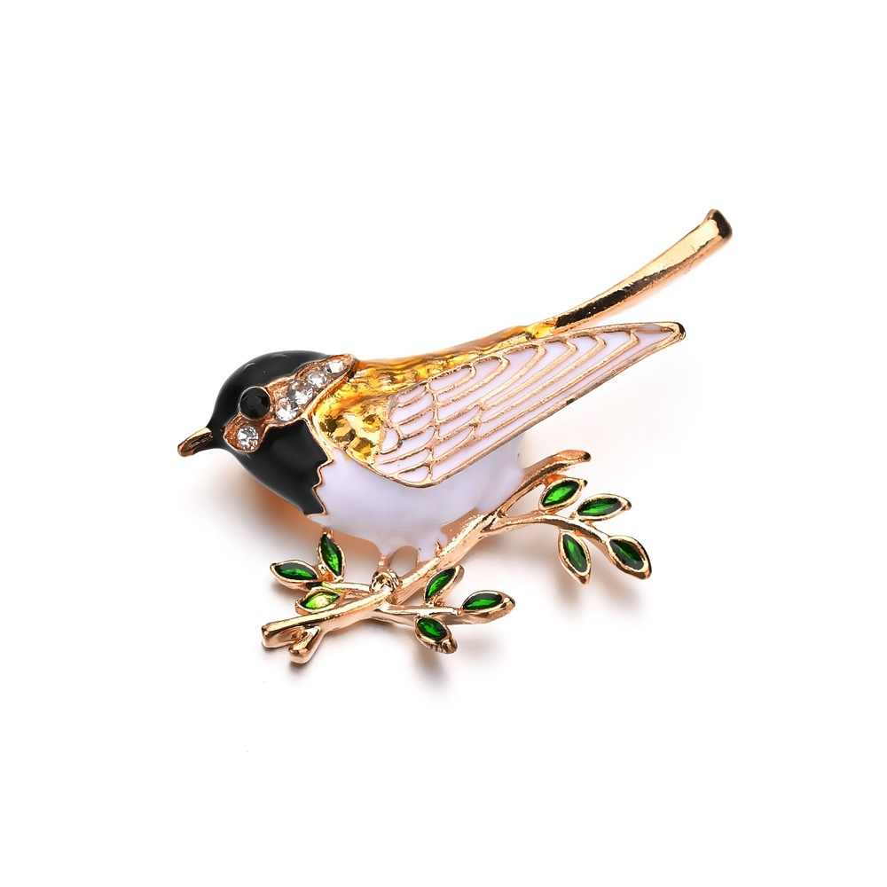 Baru Kedatangan kepribadian kreatif mode hijau Pohon Cabang drop minyak lucu model Burung pesona elegan Bros wanita perhiasan