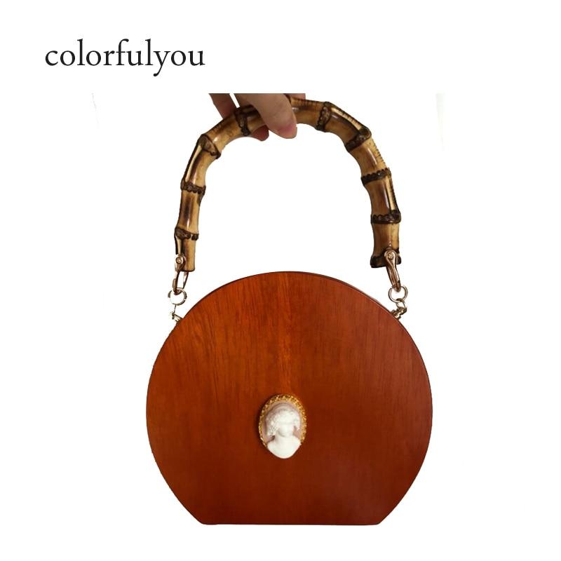 2019 nuevo bolso de bambú para mujer, bolso de madera hecho a mano, bolso redondo para mujer, bolso de cadena, bandolera, bolso de marcas de diseñador, bolsa