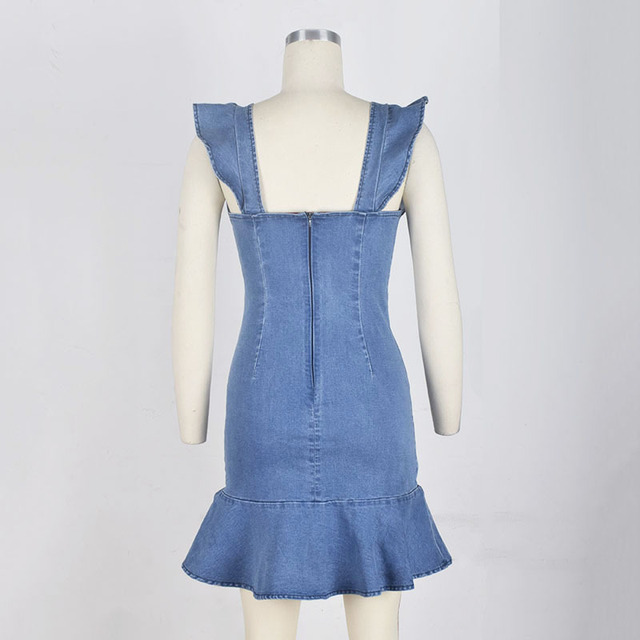 Women sexy backless ruffles bodycon mini jeans sundress Casual flare sleeve demin dress with flounce Ladies party club dress