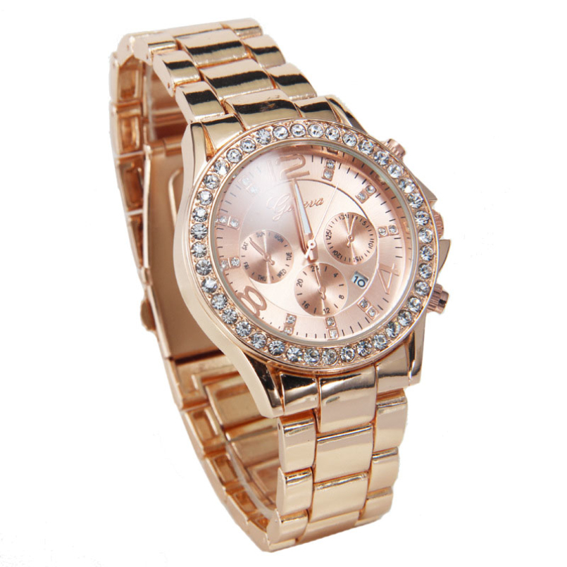 Excellent Quality 2016 Top Geneva Brand Shiny Crystal Watch Women Men Fashion Dress Quartz Wrist Watches Relogios Feminino