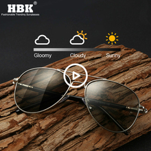 HBK High Quality Photochromic Sunglasses Men Polarized Pilot Chameleon Sun Glasses Spring Temple Safe Night Driving Eyewear