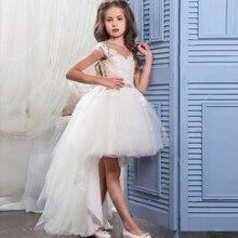 купить Lovely Flower Girl Dresses for Wedding High Low Little Girls Kids/Child Dress V-Back Applique Ball Party Pageant Communion Dress по цене 3563.98 рублей