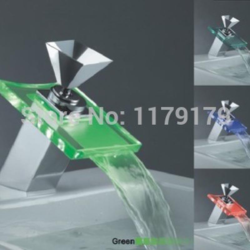 Robinet en cuivre de cascade de poignée en cristal populaire, robinet de salle de bains de robinet à LED de chrome de cuivre OD8652
