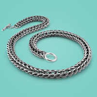 Vintage style Thai silver necklace paragraphs man domineering keel silver necklace thick silver necklace with exquisite process