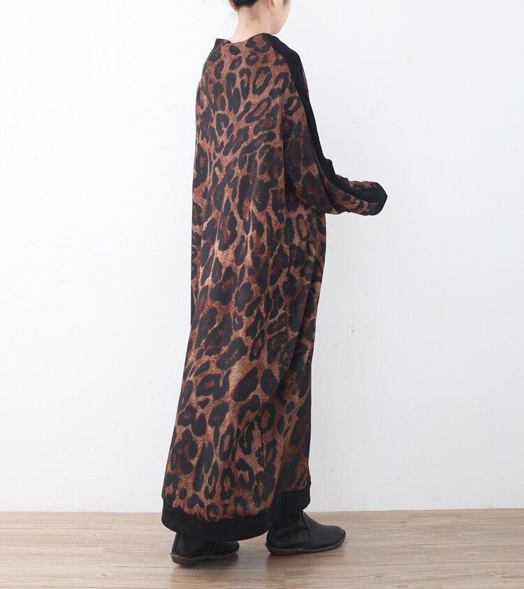 Automne Coffee À Vintage Robes La Roulé Piste Longues Femmes D'hiver Robe Col Cou Léopard Plus Maxi Taille Causal Manches De Longue Imprimé fZnpB