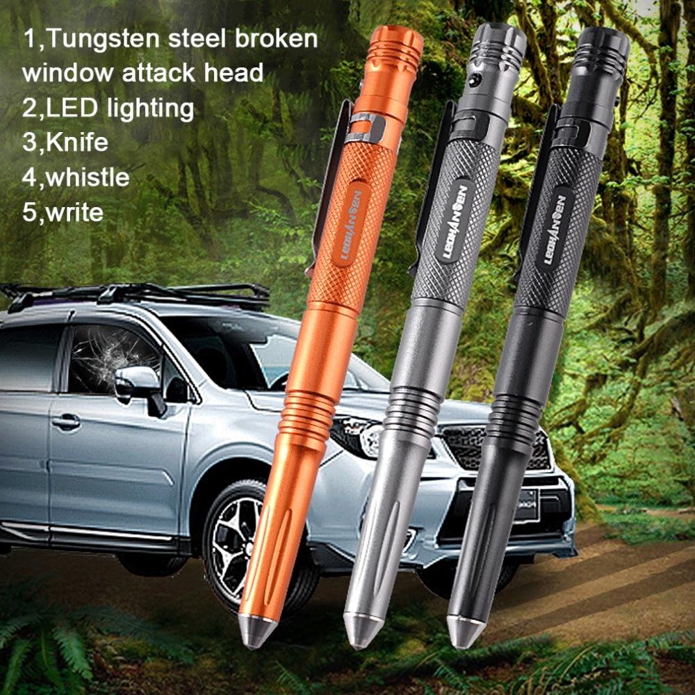 Self Defense Tactical Pen high brightness LED light Aluminum Alloy portable tactical pencil Anti-skid hiking breaker Multi Tool