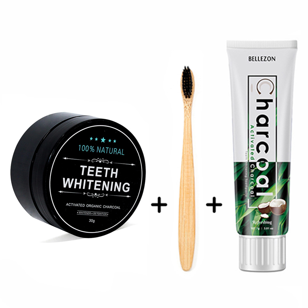 VOLLUCK Teeth Whitening Charcoal Teeth Whitening Toothbrush Tooth Powder Toothpaste Whitener Teeth Kit Oral Hygiene