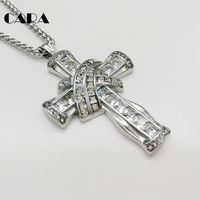 CARA New Luxury Big Cz Stones Cross Pendant Necklace Gold Color 316L Stainless Steel Decorative Fashion